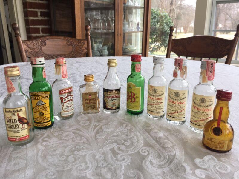 Lot Of 10 Empty Airline Mini Liquor Collectible Bottles