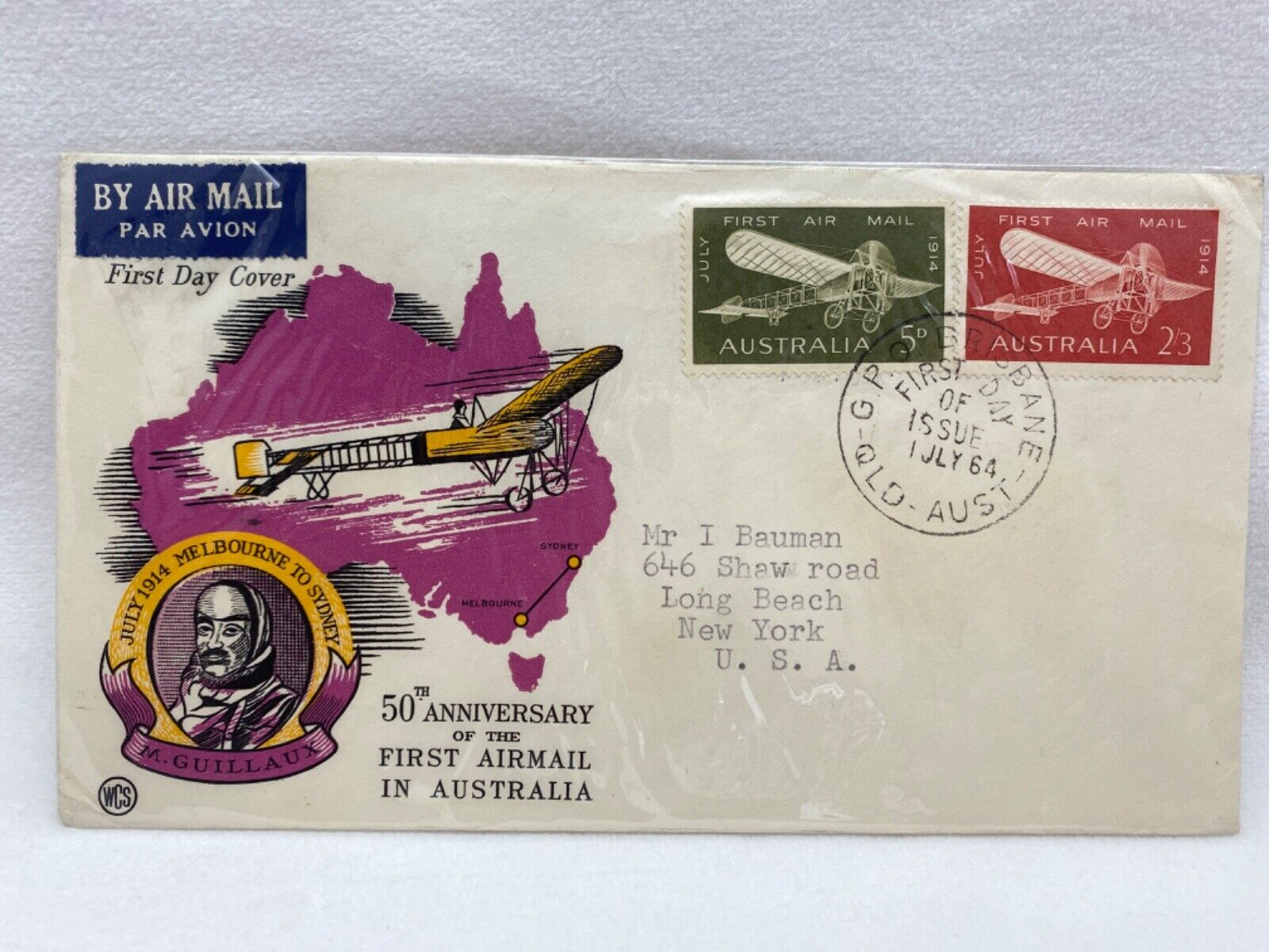 AUSTRALIA - 1964 50th ANNIVERSARY OF 1st AIR MAIL IN AUSTRALIA SPECIAL COVER 16 - $1.25