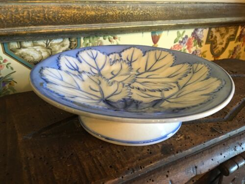 1900s Blue & White English Pearlware Pottery Ceramic Compote Floral