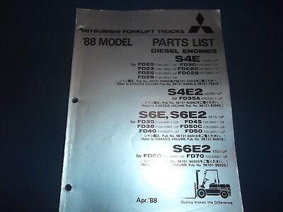 Mitsubishi S4e S4e2 S6e S6e2 Diesel Forklift Engine Parts Manual Book Catalog