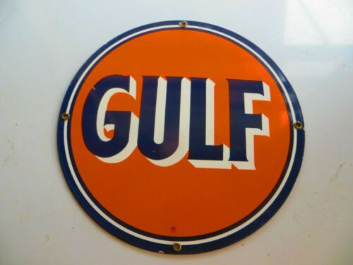 GULF GAS & OIL COMPANY PUMP PLATE PORCELAIN ADVERTISING SIGN