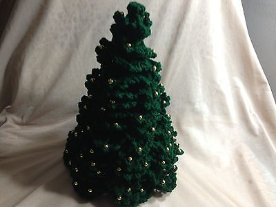 Crochet Christmas Tree, Green with Gold Decorations