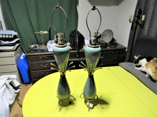 """Vintage Pair Of 1950s Sputnik 18"""" Lamps Great Shape Tested Fast Free Shipping"""