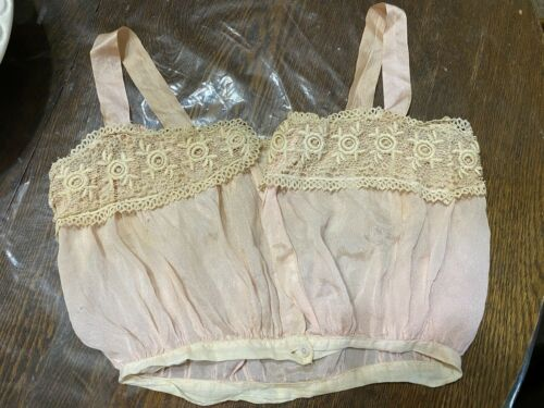 Vintage Camisole Lingerie Beautiful Lace Silk Ribbon Small