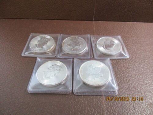 Lot of 5 CANADA 2017 SILVER MAPLE LEAF - 5 DOLLAR Coin - 1 OZ .999 Fine Silver