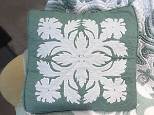 2 Hawaiian quilt handmade 100% hand quilted/appliqued cushions pillow covers 18