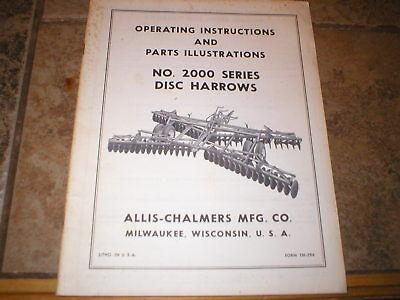 Allis Chalmers 2000 Series Disc Harrow Operators Manual Parts Catalog