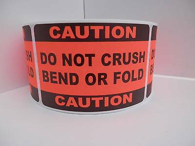 50 Caution Do Not Crush Bend Or Fold 2x3 Sticker Label Red Flourescent Bkgd