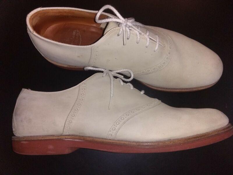 True VTG 50s COLE HAAN white buckskin suede BUCKS RNR vlv saddle leather shoe 12