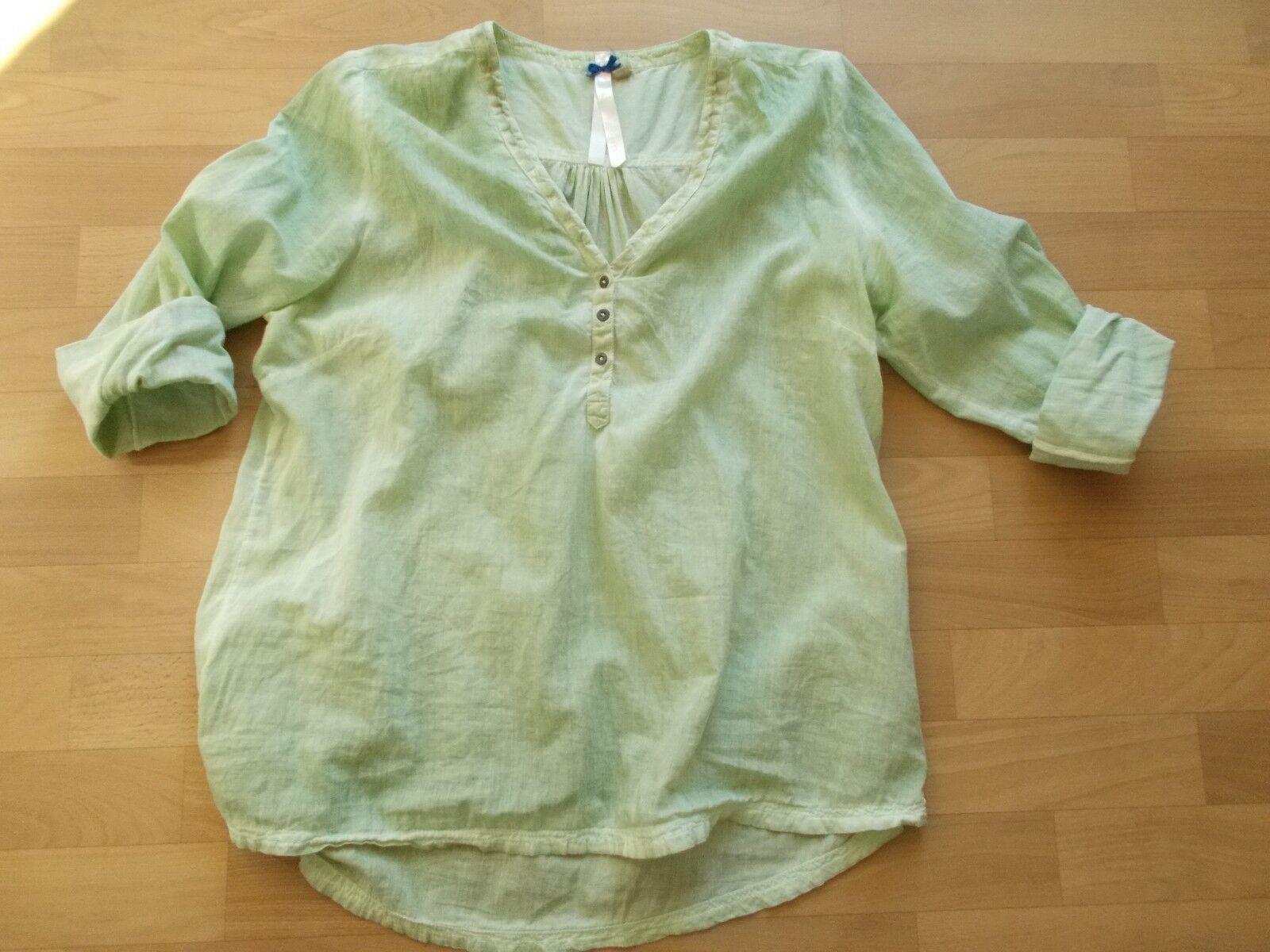BROADWAY NYC Fashion, Bluse / Shirt, helles Oliv, leicht verwaschene Optik, L