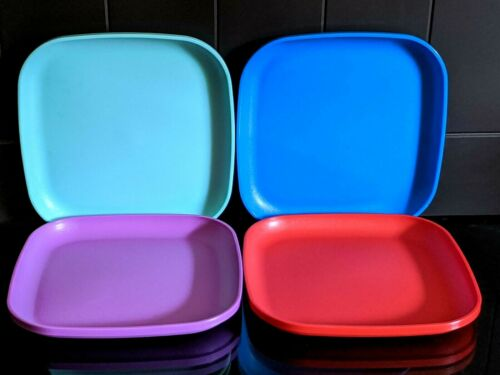 "Tupperware 4 Luncheon Square Plates 8"" New Colorful New"