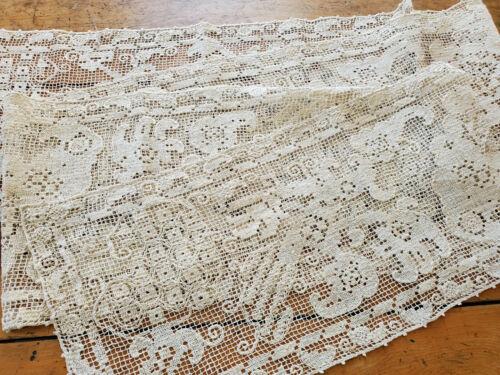 Antique Vtg Hand Knot Filet Lace Table Runner Italian 8 feet long banquet 10x100