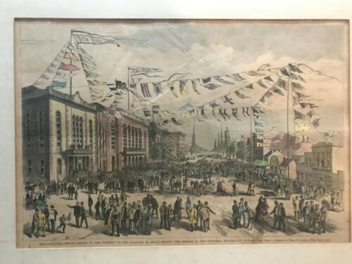 Hand Colored Wood Engraving 1872 Republican National Convention Philadelphia GOP