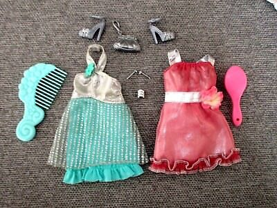 Barbie-CLOTHES-2 Dresses-Shoes-Jewelry-Accessories Lot C12