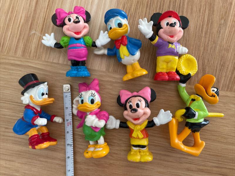 """Walt Disney Mini Figures Lot (7) PVC 2.5"""" Mickey Minnie Donald Duck"""