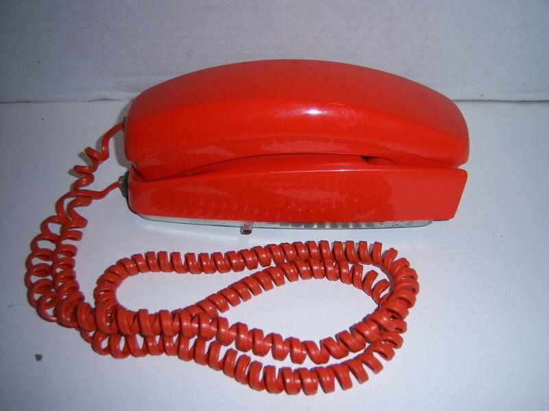 Vintage Orange ITT Trimline Touch-Tone Wall Telephone