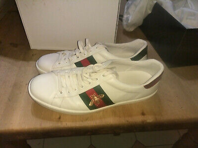 Authentic Mens Gucci Ace Bee embroidered leather trainers. Size 10