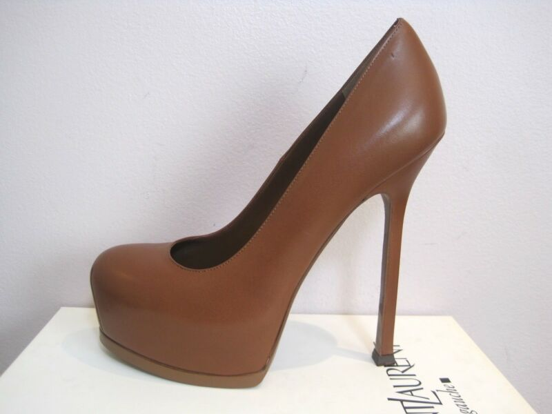 YSL Yves Saint Laurent Tribtoo 105 Nappa Cognac Pumps Shoes Heels 38 795