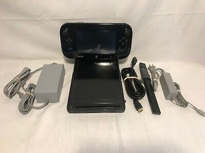 Nintendo Wii U 32GB Console - Black w/ Gamepad Complete VG Cleaned & Tested