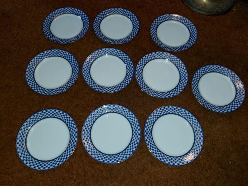 "Set of 10 Russian Design Cobalt Blue Net Dessert Salad Plates 7.5"" Bone China"