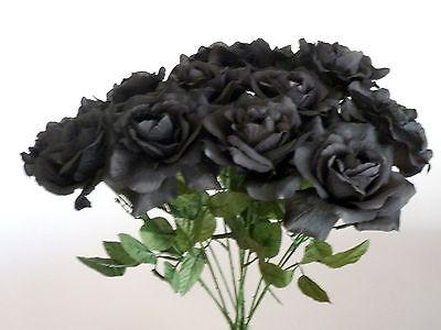 5 x Rosen schwarz Kunstblumen -Seidenblumen