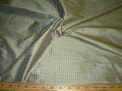 ~BTY~FABRICUT 100% SILK GINGHAN CHECK PLAID DRAPERY UPHOLSTERY FABRIC FOR -
