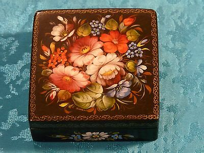 Russian Vintage Wooden Box Hand Painted Fedoskino Russian Lacquer Box