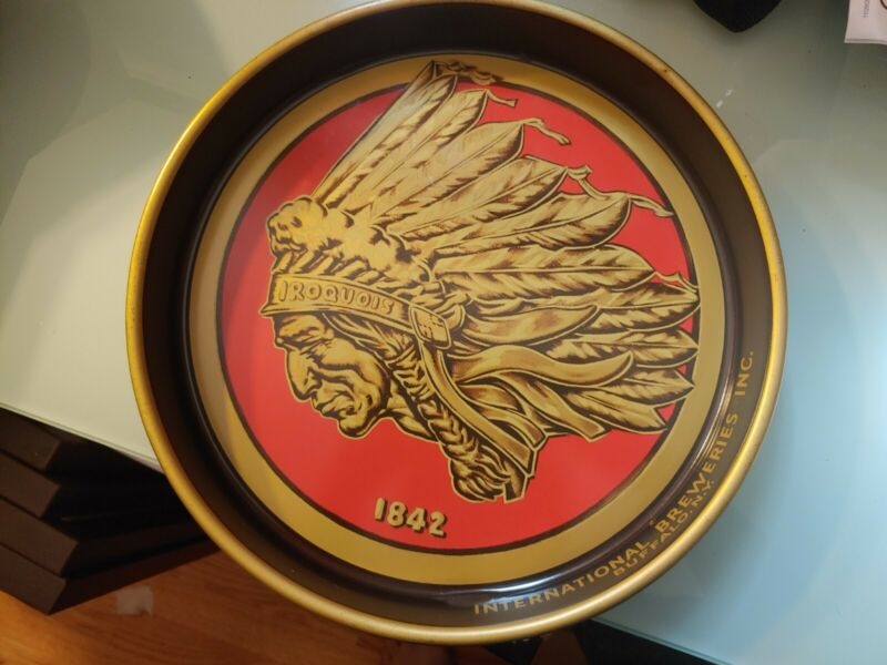 Vintage Iroquois Indian Head Beer International Breweries Metal Tray Buffalo, NY