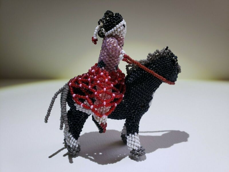 Beaded Native Zuni-Lady in Skirt Riding Horse