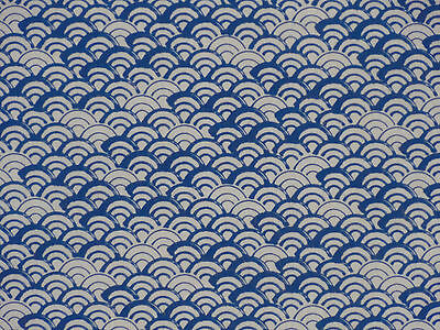Tenugui Cloth Japanese Cotton Towel Gauze 'Vertical Blue Waves' Seigaiha Fabric