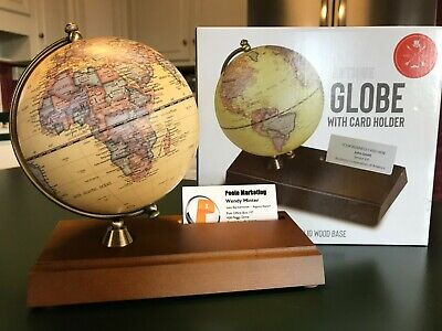 Antique Reproduction World Globe With Business Card Holder Wood Base New In Box