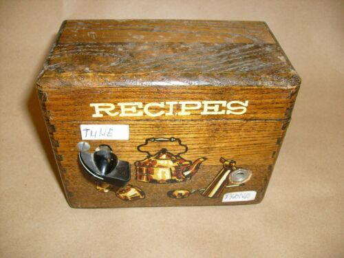 VINTAGE CRYSTAL RADIO KIT  IN WOODEN RECIPE BOX - CRAZY HOME BREW UNIT