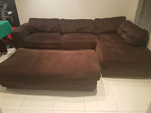 Mirco Suede Brown sofa with  chaise & ottoman McLaren Flat Morphett Vale Area Preview