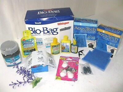 LOT Aquarium Fish Tank Supplies Filter Cartridges Tetra Whisper Bio-Bag Zeolite+
