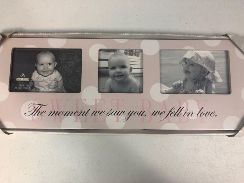 Malden International Designs Photo Collage Frame Sweet Baby Pink Girl Love