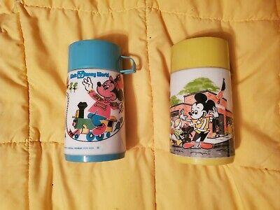 Vintage 1976 Walt Disney World & Mickey Mouse School Themed Aladdin Thermoses
