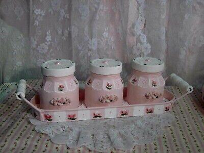 so shabby cottage hp pink roses N white triple jar set w/tray porcelain roses