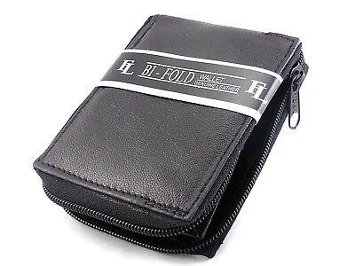 Mens Genuine Leather Bifold Zipper Zip Around Wallet Black Window ID Credit Card Black Leather Zipper