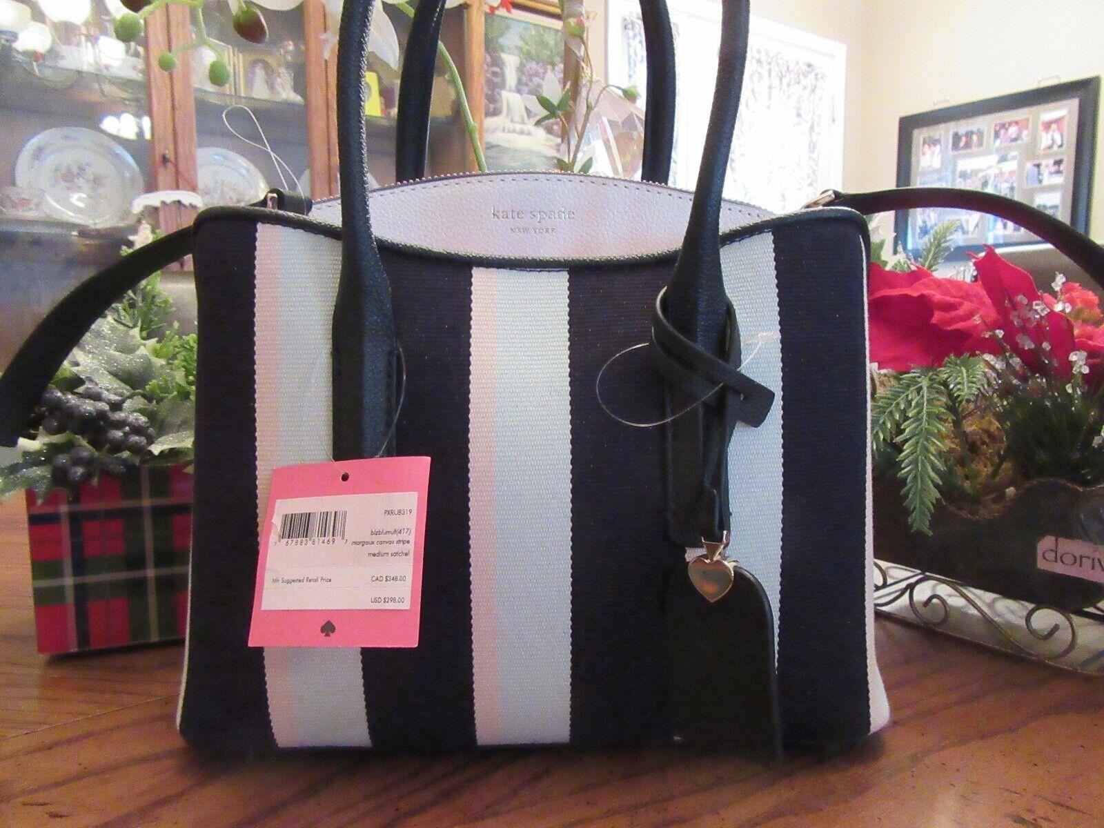 New Kate Spade New York Margaux Canvas Stripe Medium Satchel