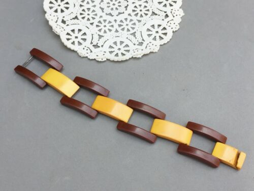 "Butterscotch & Brown Bakelite Bracelet Geometric Link Panel 7 1/2"" x 1"" Vintage"