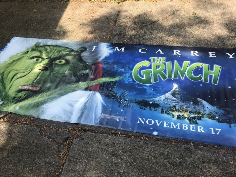 The Grinch Banner * Jim Carrey * 10 Feet Long * Vinyl Durable * Double Sided *