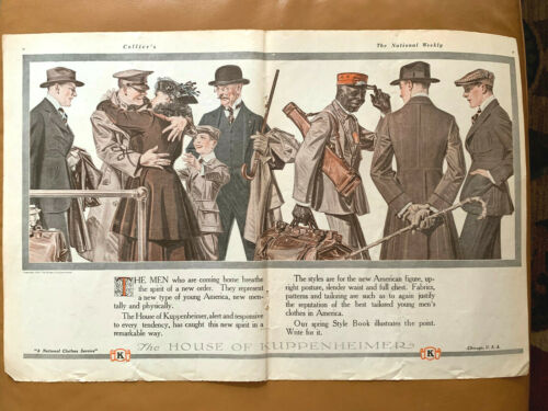 "Original 1919 Kuppenheimer Clothing AD 2 PAGE 14x21"" Leyendecker Art Adv Gay Int"