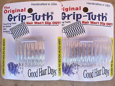 "Crystal Grip-Tuth Side Combs 1 1/2"" 2 Pack & 2 3/4"" 2 Pack = 4 Combs Made in USA"