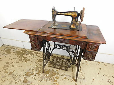"Antique 1902 Singer 27 Treadle Sewing Machine +Cabinet Egyptian Sphinx ""Memphis"""