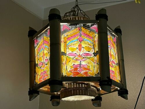 Orchids of Hawaii Tiki Light Swag Bamboo Chandelier Hanging Ceiling Lamp