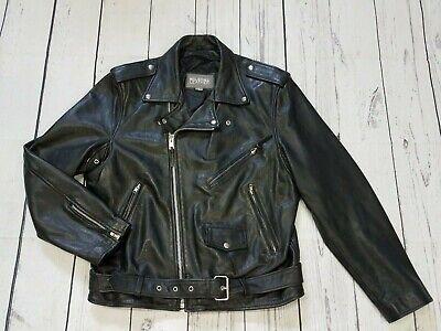 VTG WILSONS Leather Motorcycle Jacket Mens Large Black Belted Biker Open Road R