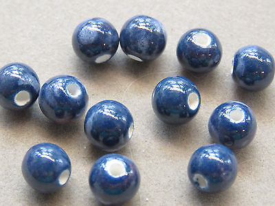 10 Handmade Dark Blue Pink White 8mm Porcelain Beads (G59D81)