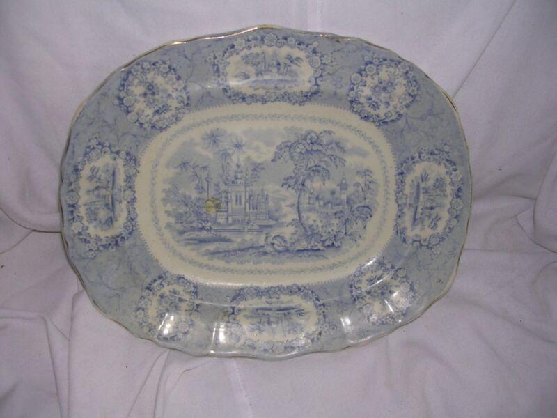 "Antique Ridgways Oriental 11""x 9"" Platter White w/ Blue Transferware"
