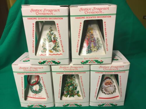 Lot of 5 Porcelain Jasco Bayberry Scented Festive Ornaments by Jasco