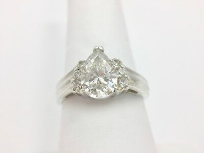 1ct Pear Cut Clear Cz Solitaire Engagement Wedding Ring Size 9 Sterling Silve... 1ct Cz Engagement Ring